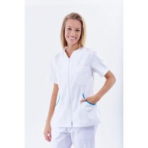 Blusa blanca cierre cremallera