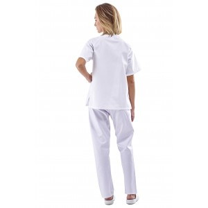 Uniforme blanco unisex cierre broches