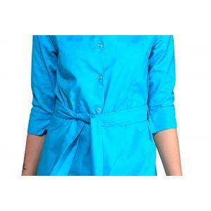 Uniforme azul turquesa mujer tipo bata. Manga francesa