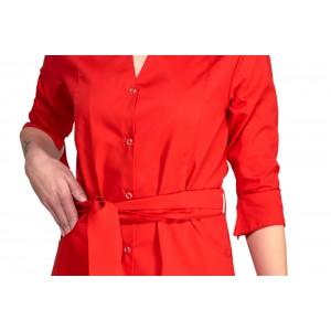 Uniforme rojo mujer tipo bata. Manga francesa
